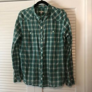 Teal and Black Button Down Shirt.
